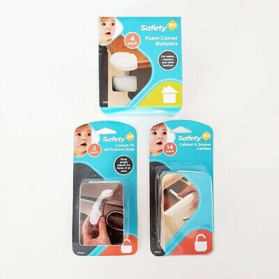 Safety First Foam Corner Bumpers Cabinet Latch Baby Proofing Strap LOT OF 3 New