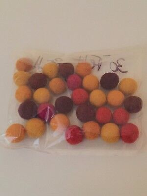 Felt Marble Pom Poms -  Assorted colours 1.5 cm Arbee Brand - Pack of 30