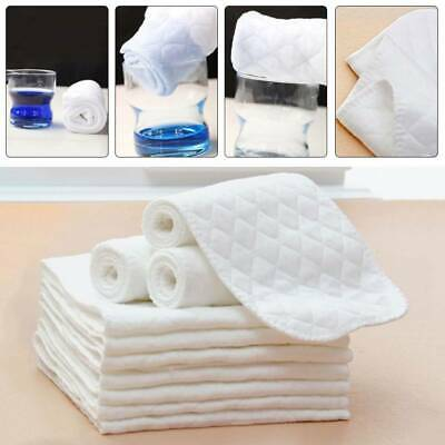 10Pcs Cotton Cloth Baby Diapers Insert Liners 3 Layers Reusable Nappy Ho_