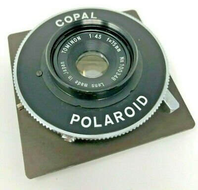 75mm f 4.5 Tominon Lens in Copal Polaroid Shutter No.100348 Made in Japan READ