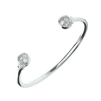 Solid Silver Baby Bangle Torque Cubic Zirconia Christening Gift
