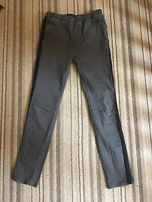 Boys NEXT Smart Trousers Grey 12 - 13 Years Black Piping Down The Legs