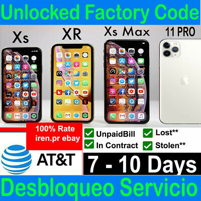 Premium At&T Att Factory Unlock Service For Iphone 11 11Pro Xs Max Xr X 8 7