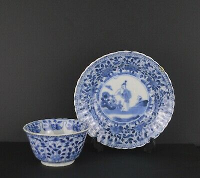 A Chinese Kangxi Period Blue & White Porcelain Cup & Saucer With Figure