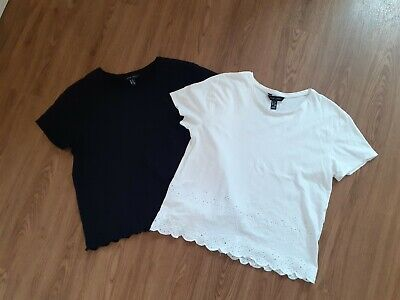 New Look Ladies Boxy T Shirts Tops With Scallop Hem Black & White Size 12