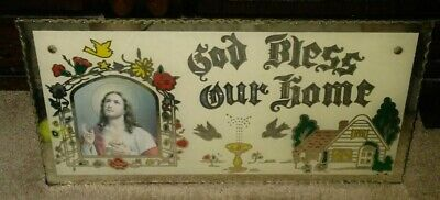 Vintage Religious God Bless Our Home Mirror Glass Wall Sign 16 x 8 in Beautiful!