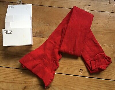 H&M Red GIRLS Cotton Blend TIGHTS Size 10-12 YEARS *NEW*
