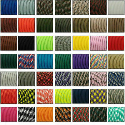 25-100FT 550 Paracord Parachute Cord Lanyard Mil Spec Type III 7 Strand Core 16M