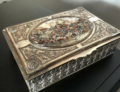 Antique French Silver Plated Cast Cherub Jewellery Casket Box @ 1900