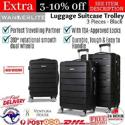 Wanderlite 3PC PP Luggage Suitcase Trolley TSA Travel Holiday Vacation Trip New