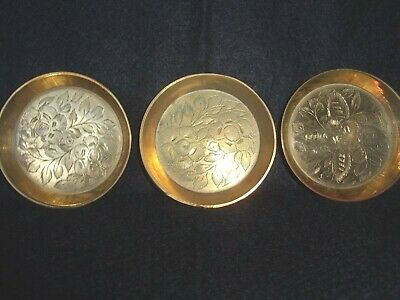 3 X Small Brass Metal Round Pin Dish Etched Twin Flower Detail Made in India