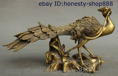 Collect China Brass Copper Lotus Feng Shui Bird Peacock Peafowl Animal Sculpture