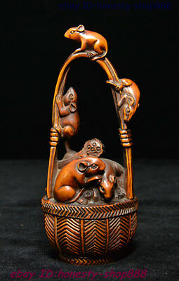 Old Chinese Natural Boxwood Wood Hand-Carved Mouse Rat Mice Basket Wealth Statue