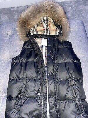 Authentic Boys Designer Burberry Gilet With Real Fur Age 14