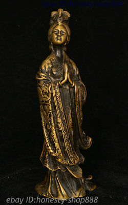 Old China Pure Copper Bronze Ancient costume Beautiful Woman Beauty Girl Statue