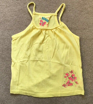 Primark Girls Yellow Pink Floral Sparkle Design Vest Top - Age 5-6 Years