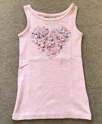 Next Girls Pink Floral Heart Vest Top - Age 3 Years (2-3) - VGC