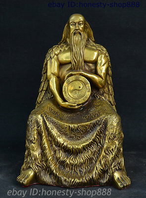 Myth Chinese Bronze Immortal Fu Xi Fuxi Gossip God Hold Bagua Mirror Statue Seat