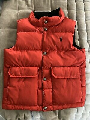Boys Polo Ralph Lauren Red Reversible Gilet UK AGE 5 Immaculate Condition