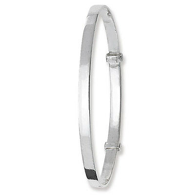 Solid Silver Baby Bangle Plain Adjustable Christening Gift