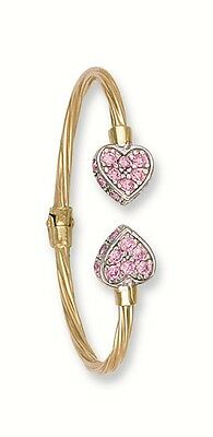 Yellow Gold Baby Bangle Torque Sparkly Pink Hearts Hallmarked