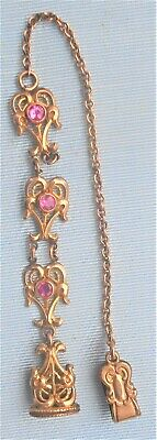 Antique Late Victorian Ladies Watch Chain And Fob With Pink Glass Stones