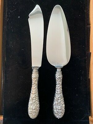 Stieff Rose Old Style Two Piece Cake Serving Set Early Wedding Cake Style