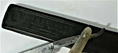 Antique WADE & BUTCHER SHEFFIELD Straight Razor 5/8 Inch Blade W/Original Case