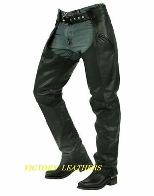 Unisex Deep Pocket Leather Motorcycle Chaps 7102.00 Size 3XL