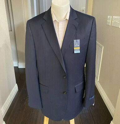 New Stafford Mens 2 buttons Dual Vents Navy Blue Wool Blend Blazer Size 42 L