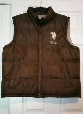 US Polo Assn Mens Puffer Vest USPA Big Large Polo Pony Brown Size XL NEW