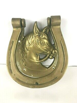 "Vintage Brass Horse Head In A Horse Shoe Door Knocker - 4.5"" Tall X 4.25"" Wide"