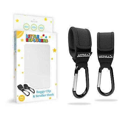Premium Buggy Clips by Little Explorers | Shopping & Changing Bag Hooks Set of 2
