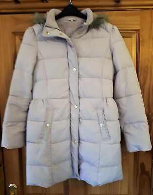 Worn Once Stunning Marks And Spencers Girls Pink Winter Padded Coat Age 13-14