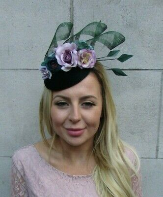 Dark Bottle Green Lilac Light Purple Floral Flower Feather Hat Fascinator 8028