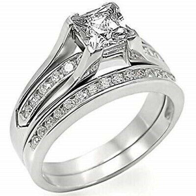 Engagement Ring Set Wedding Band Stainless Steel Princess AAA CZ Cubic Zirconia