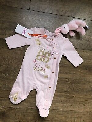 Baby Girls Pink Babygrow All in One Sleepsuit Feet Flowers Floral 0 3 6 9 M 83