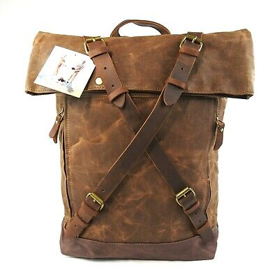 Waxed Canvas With Leather Trim Roll Top Backpack Brown