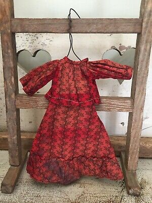 Antique 19th Century Red Calico Doll Blouse & Skirt