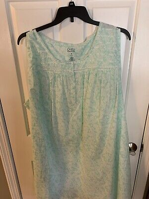 Croft Barrow Sleeveless Nightgown ~ 4X Pale Green Pineapple Tropical ~ NWT