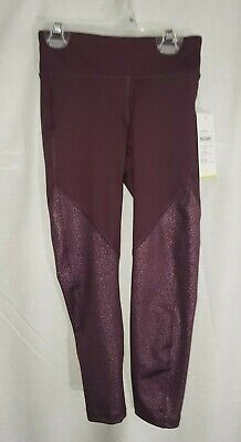 Old Navy Girls Size XS 5 Wine Shimmer Active Go Dry Mid-Rise Leggings New