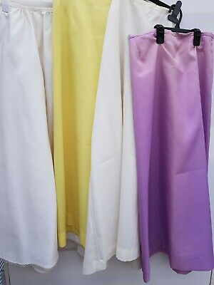 Job Lot Bundle Of x4 Vintage Slips Underskirts White, Yellow, Lilac - Handmade