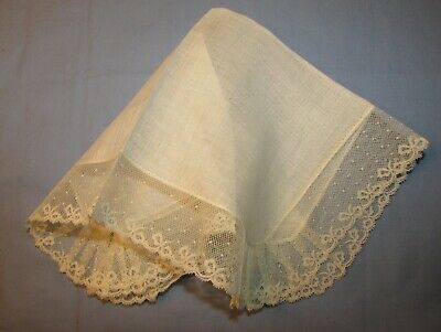 Linen Hanky With Net Lace, Bow Design