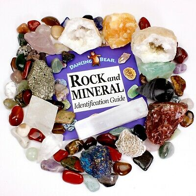 Rock & Mineral Collection Pyrite, Arrowhead, Qtz Pt.,Tumbled Stones, Geode,Book