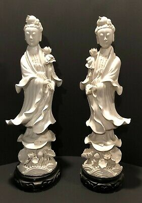 .Pair of Signed Chinese Republic Period Blanc de Chine Porcelain Guanyin Figures