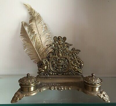 Old Ornate Brass Double Ink Well & Letter Holder Suit Desk Study Hall Antique