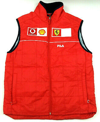 Ferrari Official Team Mens Vest F1 Racing Vodafone Shell Zip Quilted Fila Red M