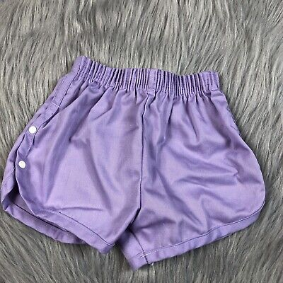 Vintage Toddler Girls Stone Apparel Purple Dolphin Shorts Snap Up