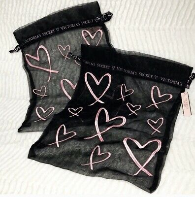 """Victorias Secret 2 Gift Mesh Bags Pink Logo Embroidery 14""""x11"""" NWT"""