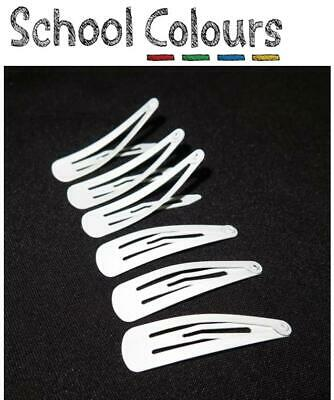 School Colours - Quality White School Snap Hair Clips